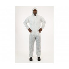 White SMS Coverall with Hood, XL, case of 25